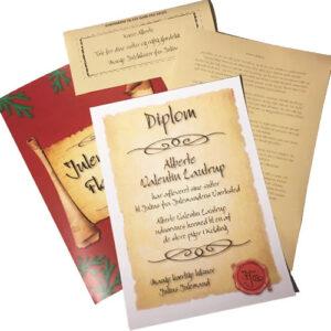 Aflever sutterne til julemanden - diplom med personligt brev